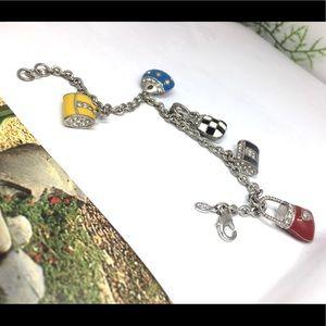 premier design enamel crystal purse silverbracelet